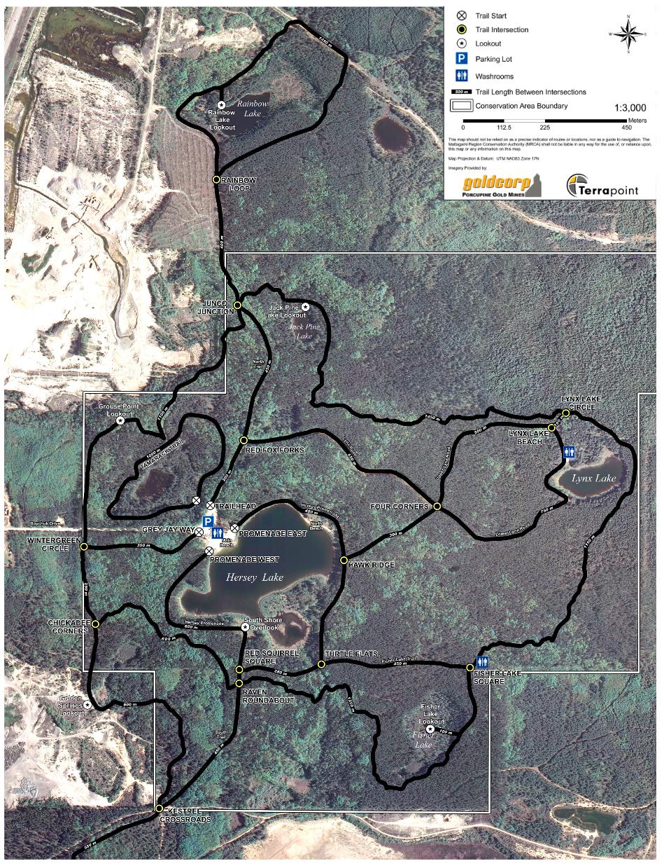 Hersey Lake trail network map