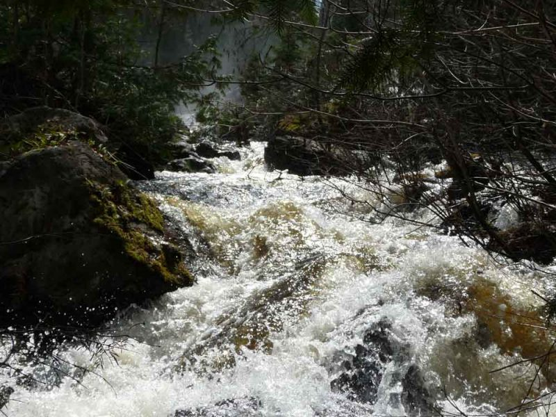 fast flowing water over rocks