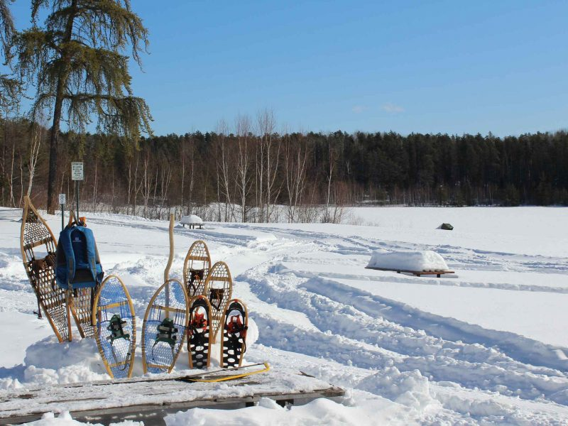 snowshoes in a snowbank alongside a lake
