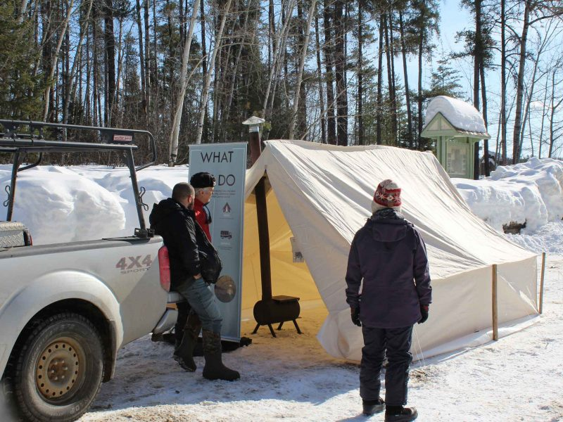 Sewn Home presentation at winter hiking day
