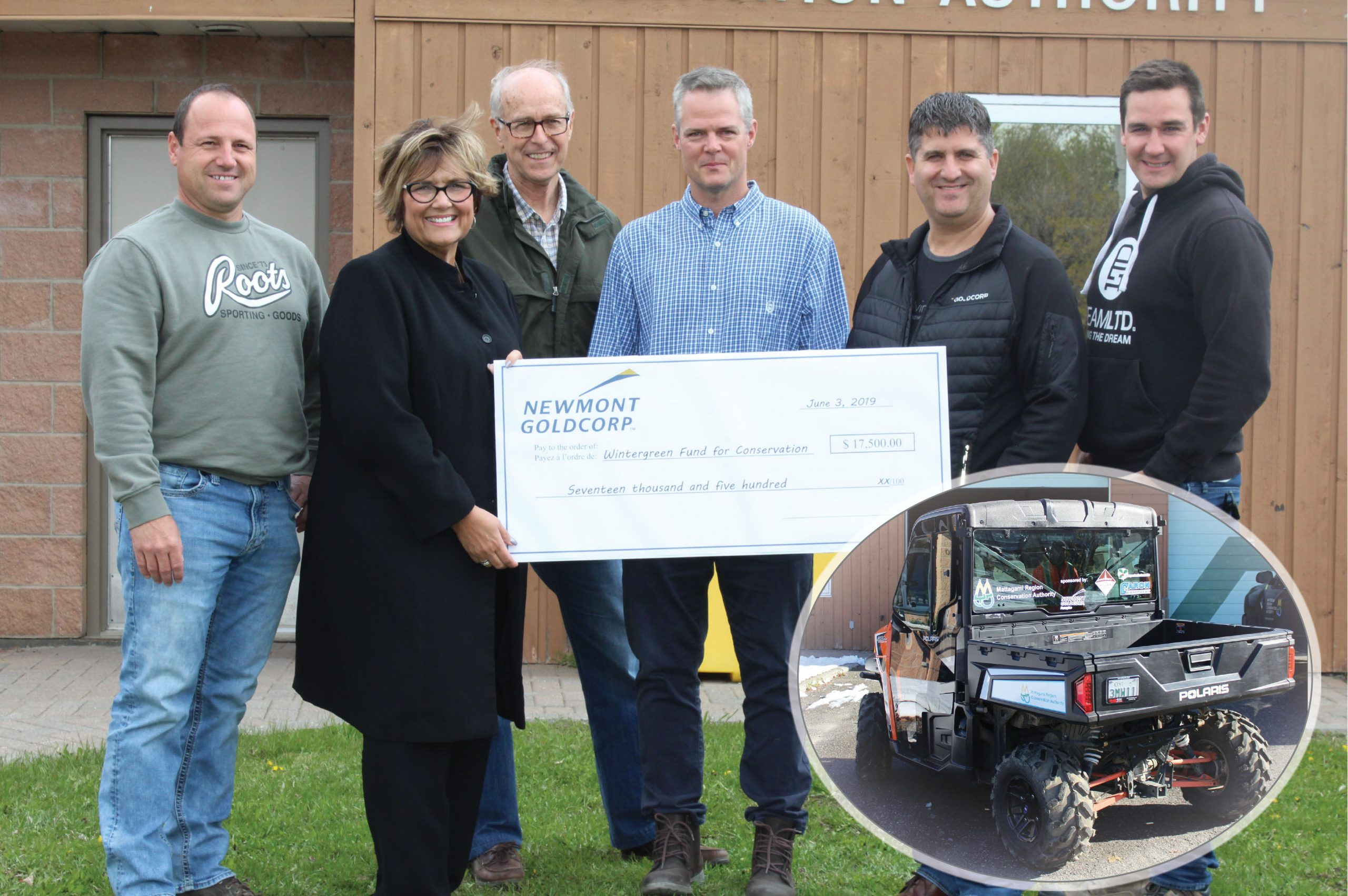 Donation presentation from Caron Equipment, Newmont Goldcorp, Miller Paving and Wintergreen