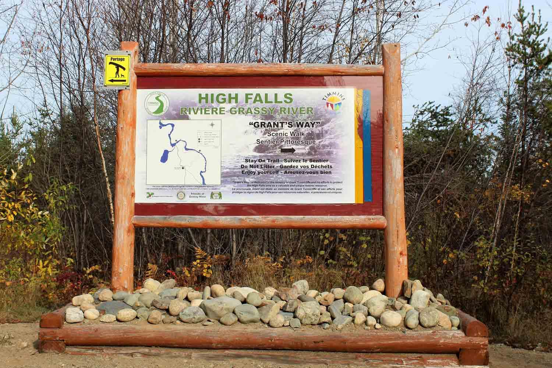 High Falls Grassy River Sign