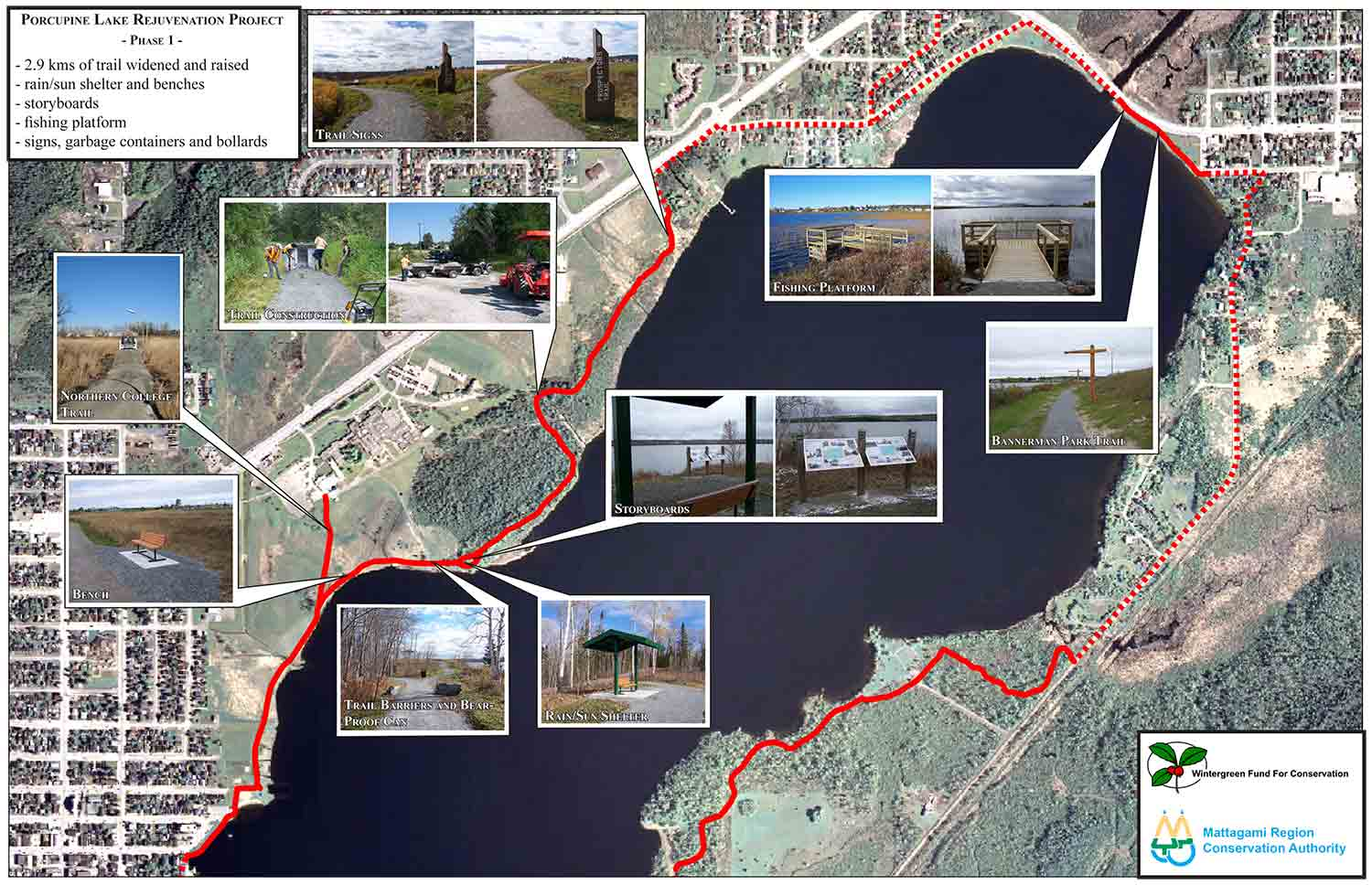 Map of the Porcupine Lake Trail showing the projects completed as part of the Porcupine Lake Rejuvenation