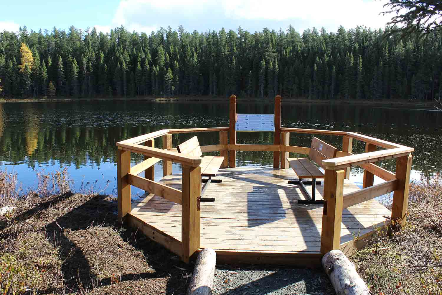 Wooden lookout overlooking Rainbow Lake in the Hersey Lake Conservation Area
